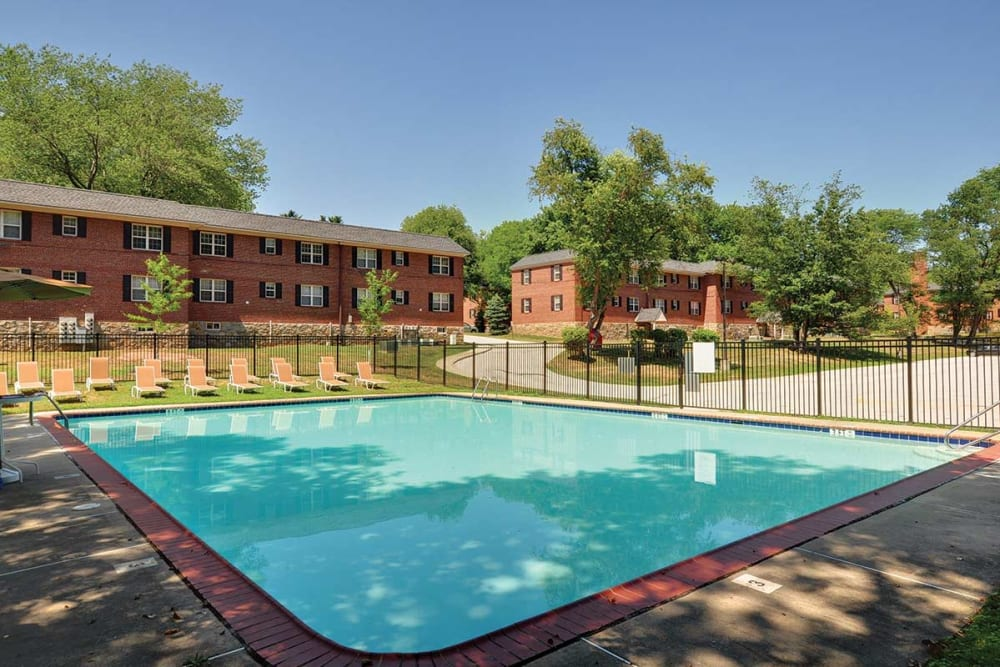 Resort style swimming pool at The Villas at Bryn Mawr Apartment Homes in Bryn Mawr, Pennsylvania