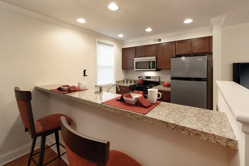Fully equipped kitchen at The Villas at Bryn Mawr Apartment Homes in Bryn Mawr, Pennsylvania