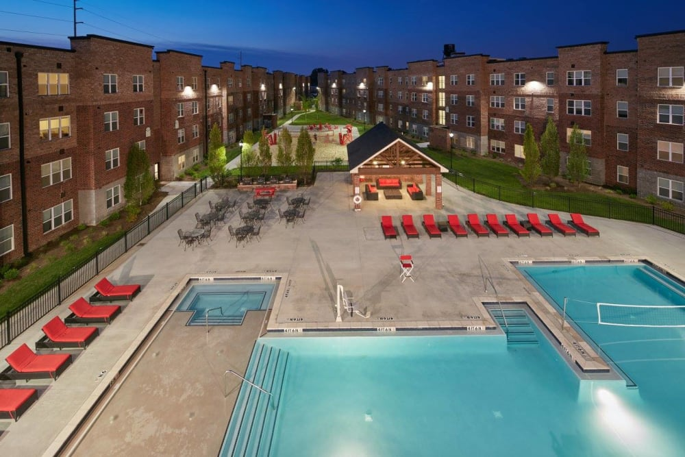 Night swimming at Trifecta Apartments in Louisville, Kentucky.