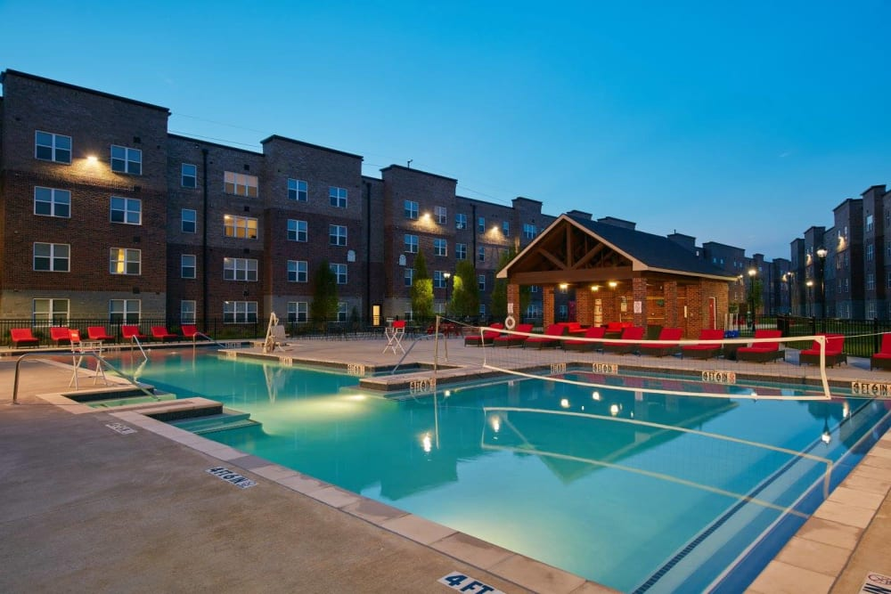 Pool volleyball at Trifecta Apartments in Louisville, Kentucky.