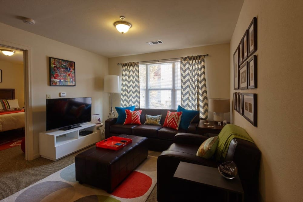 Living room at Trifecta Apartments in Louisville, Kentucky.