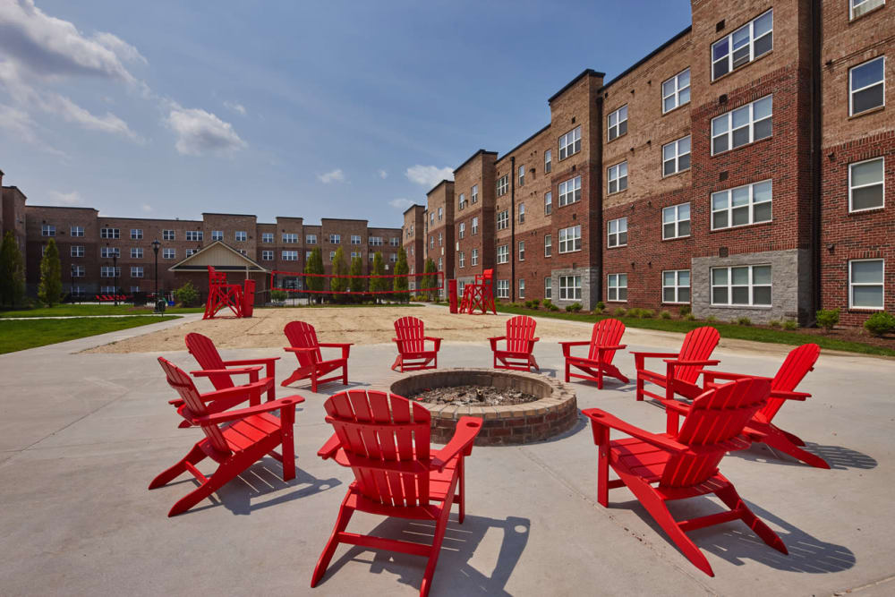 Firepit and chairs at Trifecta Apartments in Louisville, Kentucky.