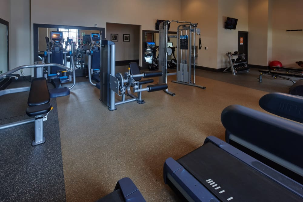 Strength machines at Trifecta Apartments in Louisville, Kentucky.