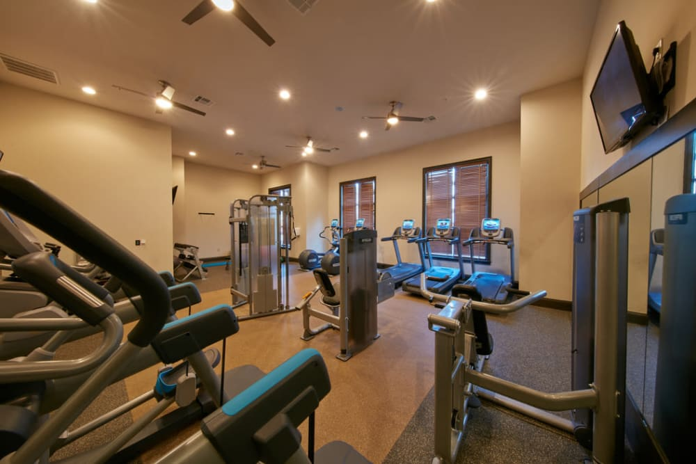 Fitness center at Trifecta Apartments in Louisville, Kentucky.