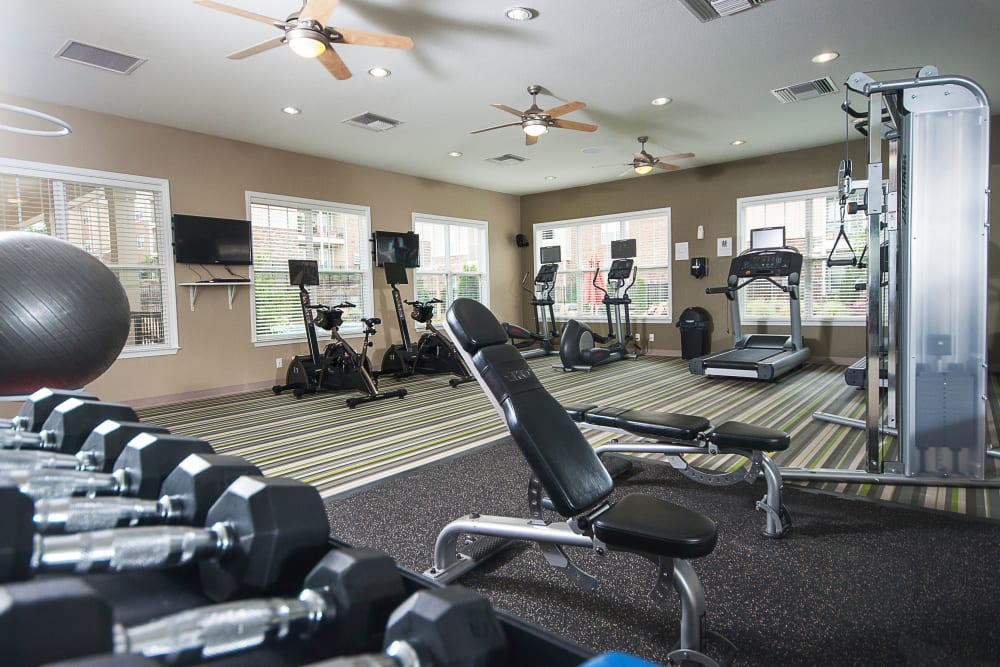 Fitness room offers weights at Chenal Pointe at the Divide in Little Rock, Arkansas.