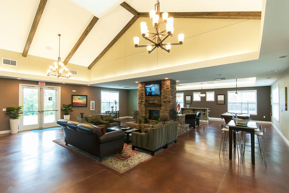 The clubhouse with fireplace at Chenal Pointe at the Divide in Little Rock, Arkansas.