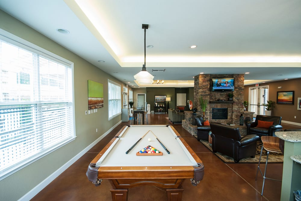 The clubhouse with pool table at Chenal Pointe at the Divide in Little Rock, Arkansas.