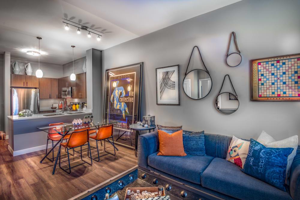 Living room model at The Chase at Overlook Ridge in Malden, Massachusetts
