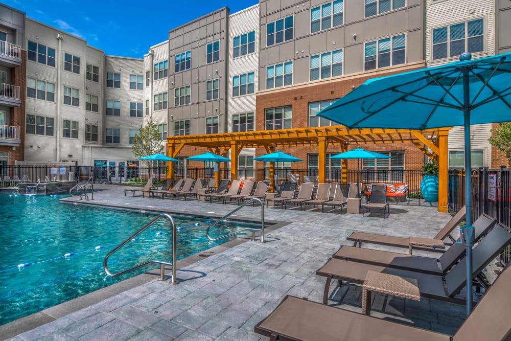 Outdoor pool at The Chase at Overlook Ridge in Malden, Massachusetts
