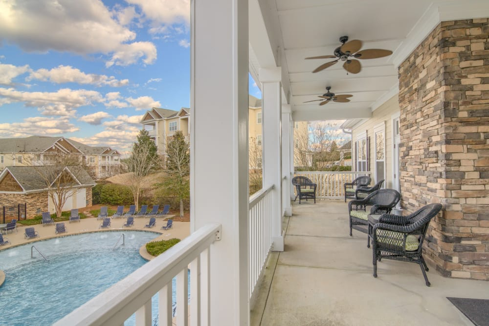 Balcony with view of pool deck at Apartments at the Venue in Valley, AL