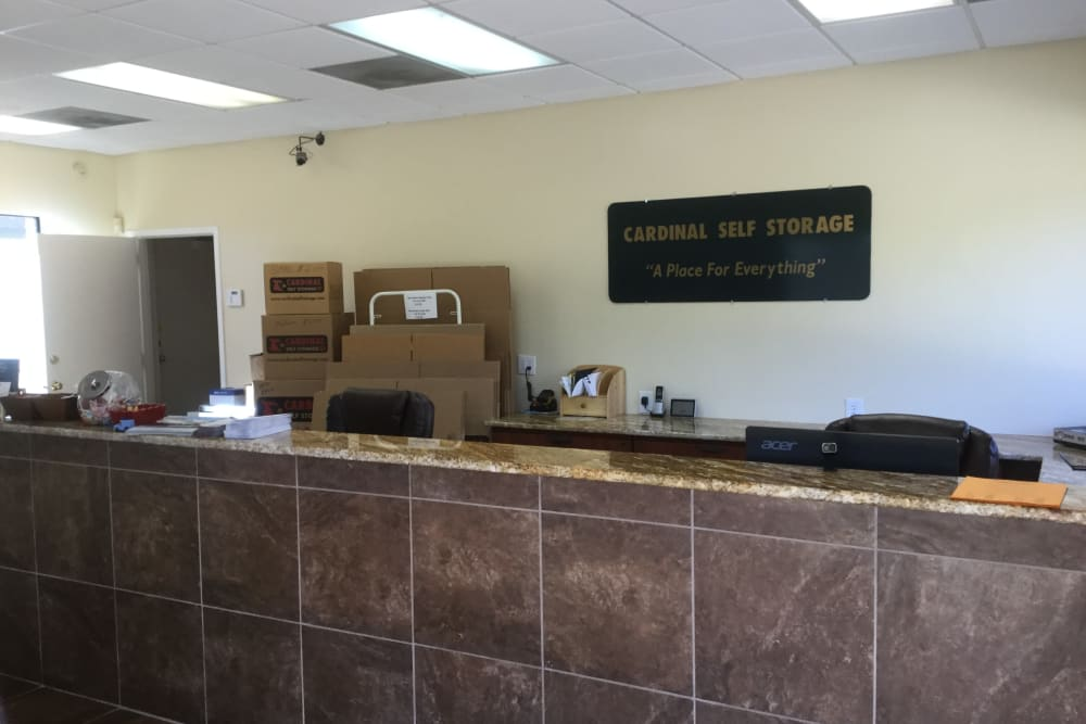 The reception desk at Cardinal Self Storage - South Durham in Durham, North Carolina