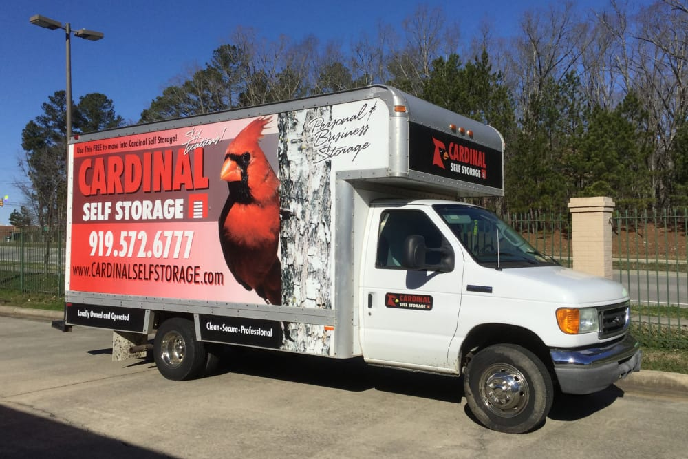 The moving truck at Cardinal Self Storage - South Durham in Durham, North Carolina