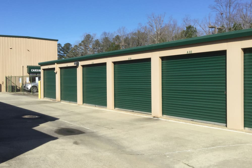 Drive up storage units at Cardinal Self Storage - South Durham in Durham, North Carolina