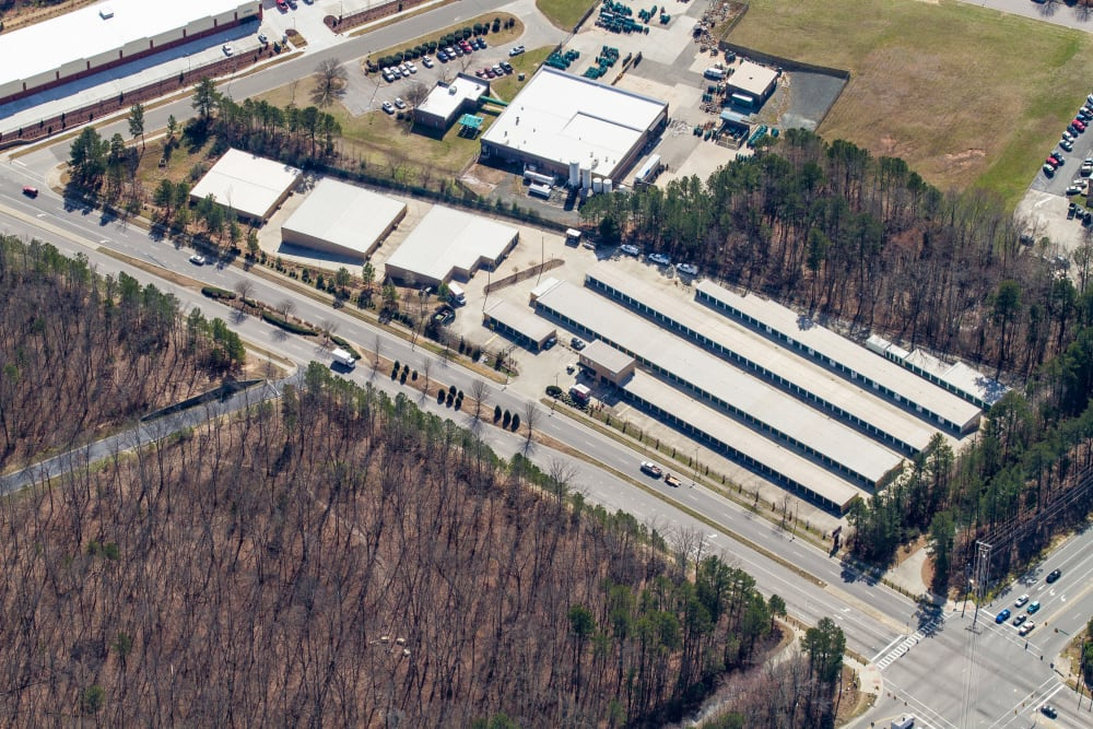 Arial view of Cardinal Self Storage - South Durham in Durham, North Carolina