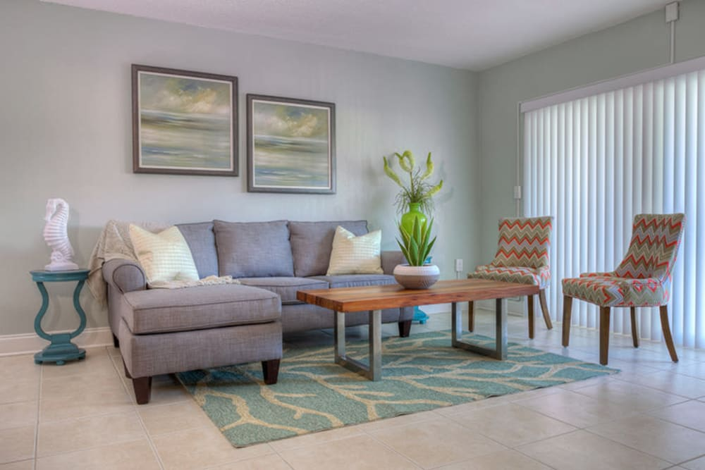 Couch in living room of model home at El Mar in North Redington Beach, Florida