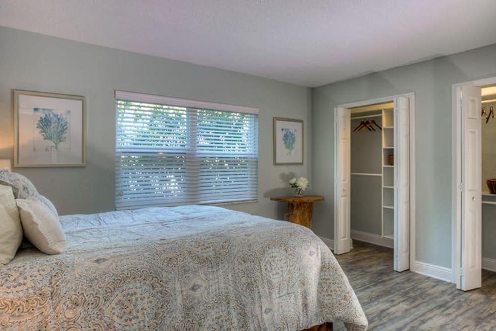 Decorated master bedroom in model home at El Mar in North Redington Beach, Florida