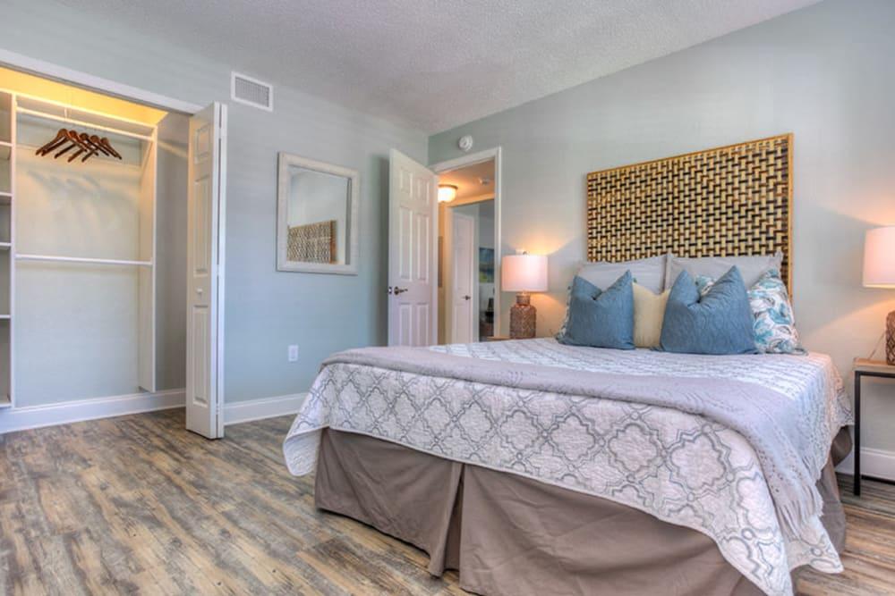 Large master bedroom in model home at El Mar in North Redington Beach, Florida