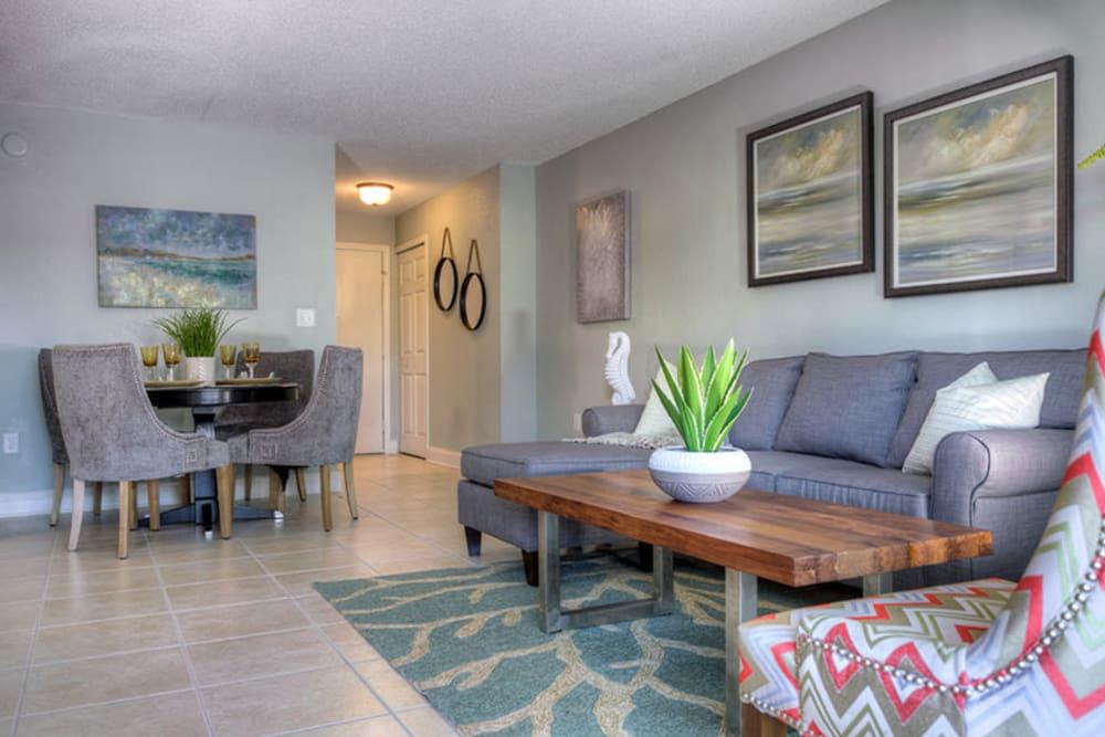 Living room in model home in North Redington Beach, Florida at El Mar