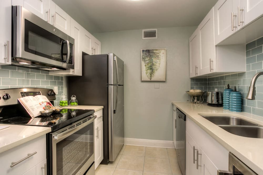 Decorated kitchen in model home at El Mar in North Redington Beach, Florida