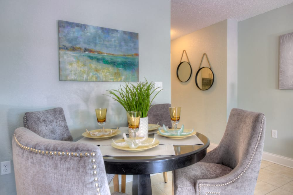 Dining room table in model home at El Mar in North Redington Beach, Florida