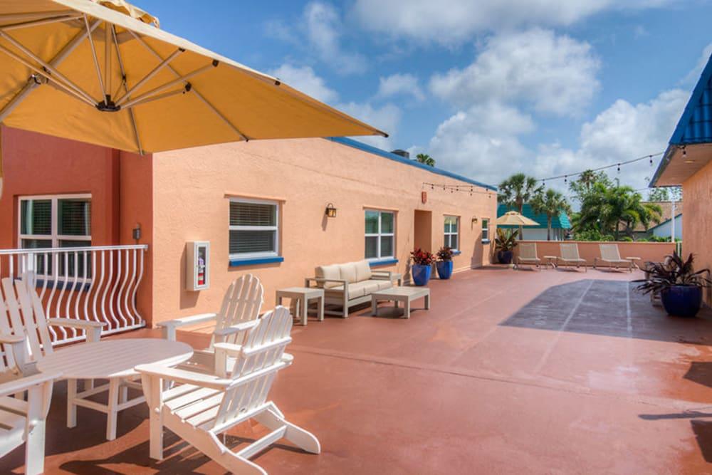 Patio seating in North Redington Beach, Florida at El Mar