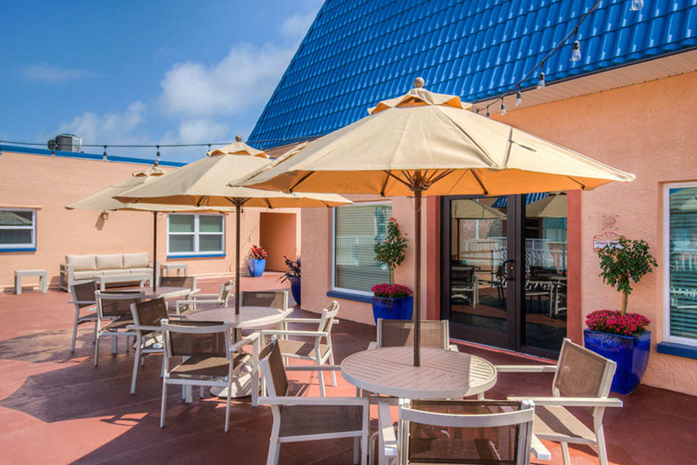 Covered patio seating at El Mar in North Redington Beach, Florida