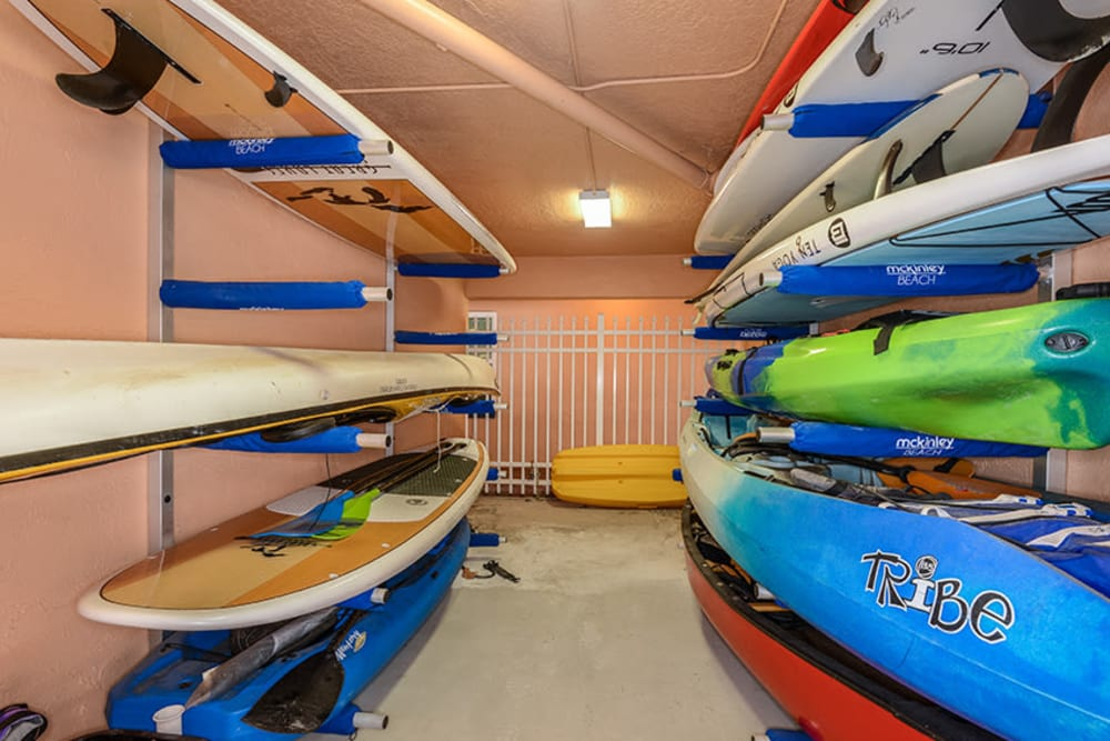Kayaks and stand-up paddle boards at El Mar in North Redington Beach, Florida