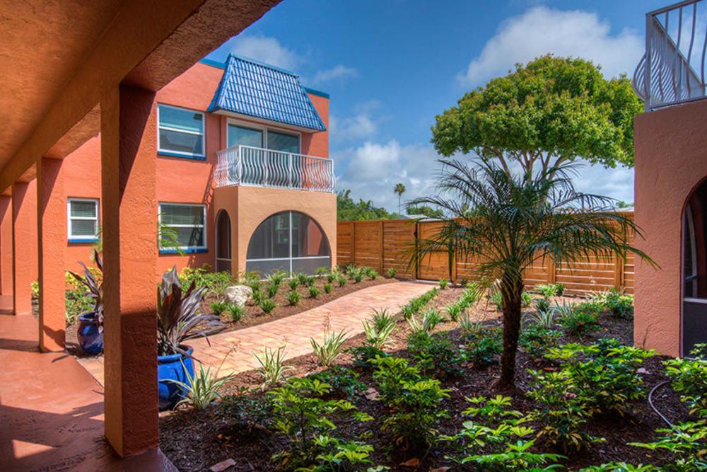 Walkway through the gardens at El Mar in North Redington Beach, Florida