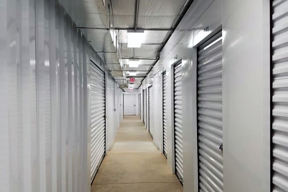 Interior storage units at Cardinal Self Storage - West Raleigh in Raleigh, North Carolina