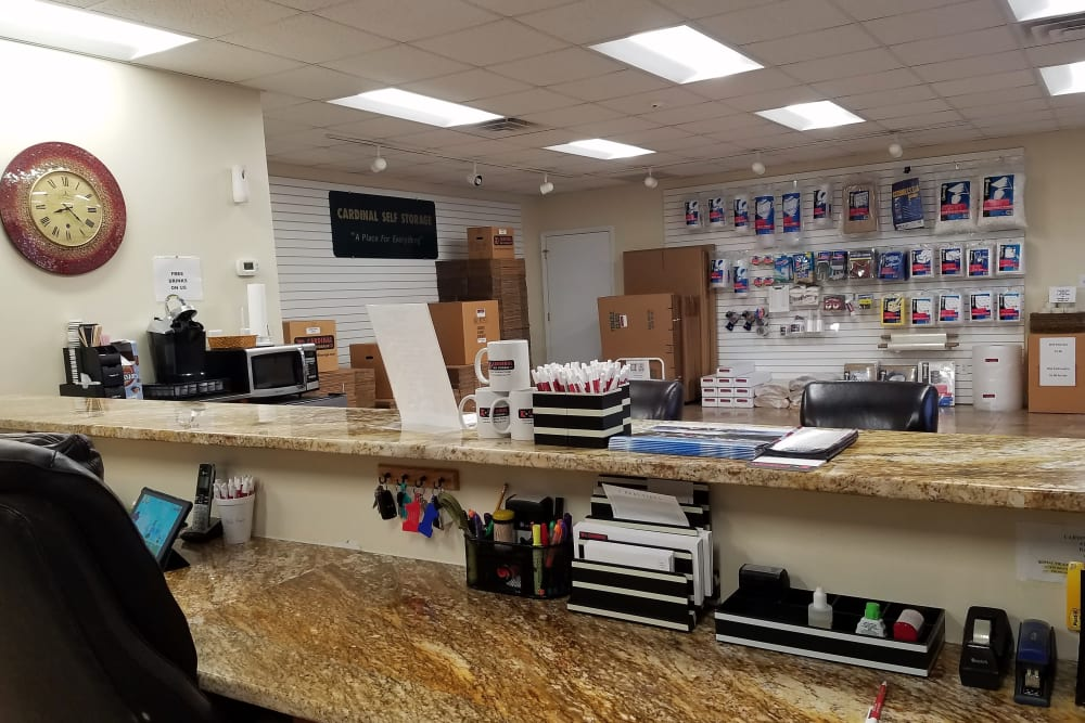 Behind the front desk at Cardinal Self Storage - West Raleigh in Raleigh, North Carolina