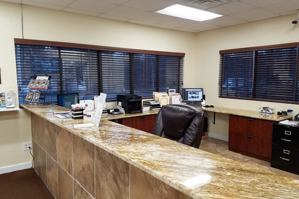 Front desk at Cardinal Self Storage - West Raleigh in Raleigh, North Carolina