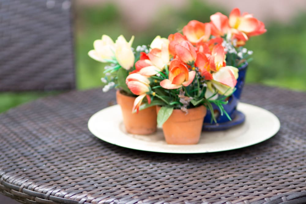 Flowers on an outdoor table at Gables of Ojai in Ojai, California