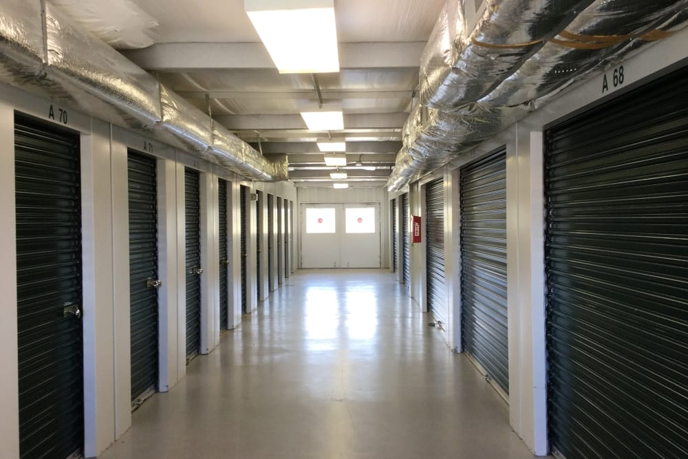 Interior storage units at Cardinal Self Storage - Burlington in Burlington, North Carolina