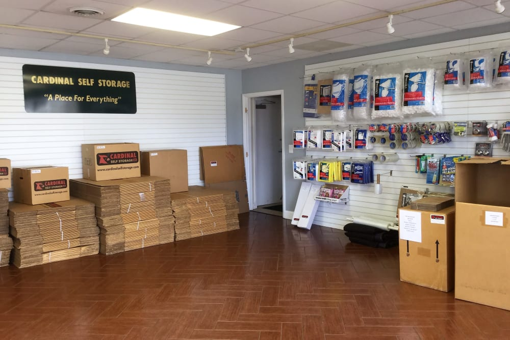 Moving and packing supplies inside at Cardinal Self Storage - Burlington in Burlington, North Carolina