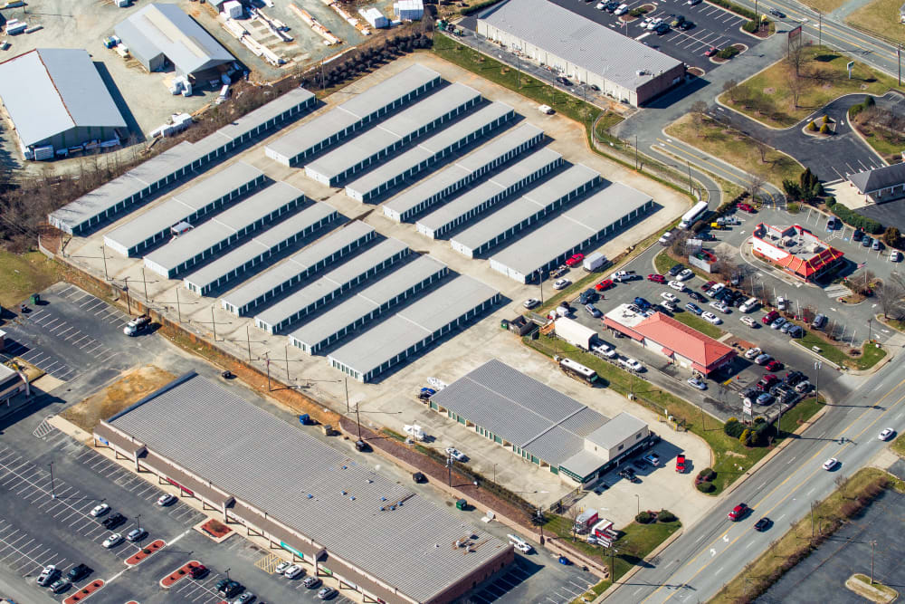 Arial view of Cardinal Self Storage - Burlington in Burlington, North Carolina