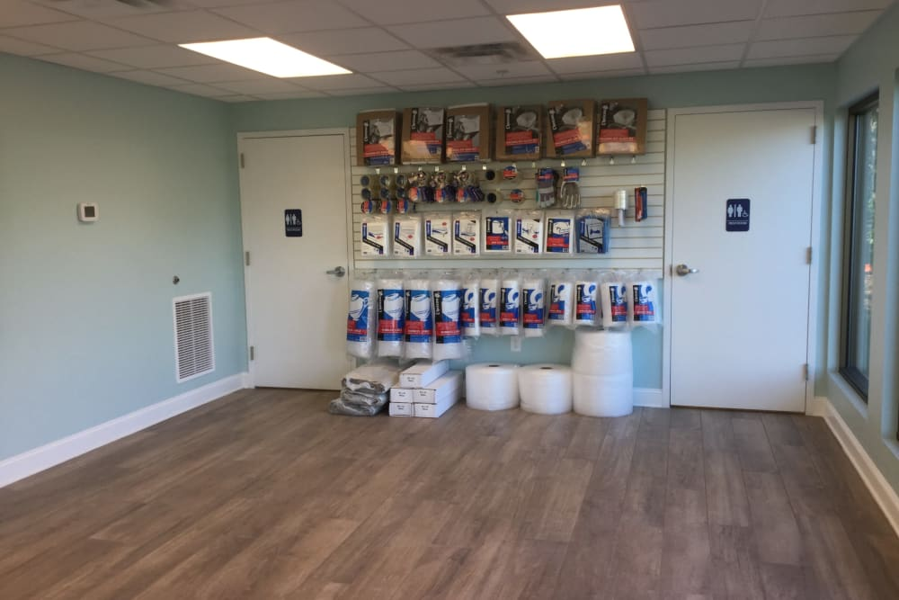 Storage supplies on display at Cardinal Self Storage - Wilmington in Wilmington, North Carolina