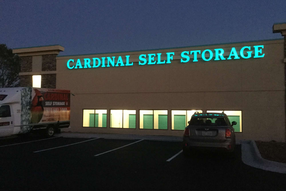 Front of Cardinal Self Storage - Wilmington at night in Wilmington, North Carolina.