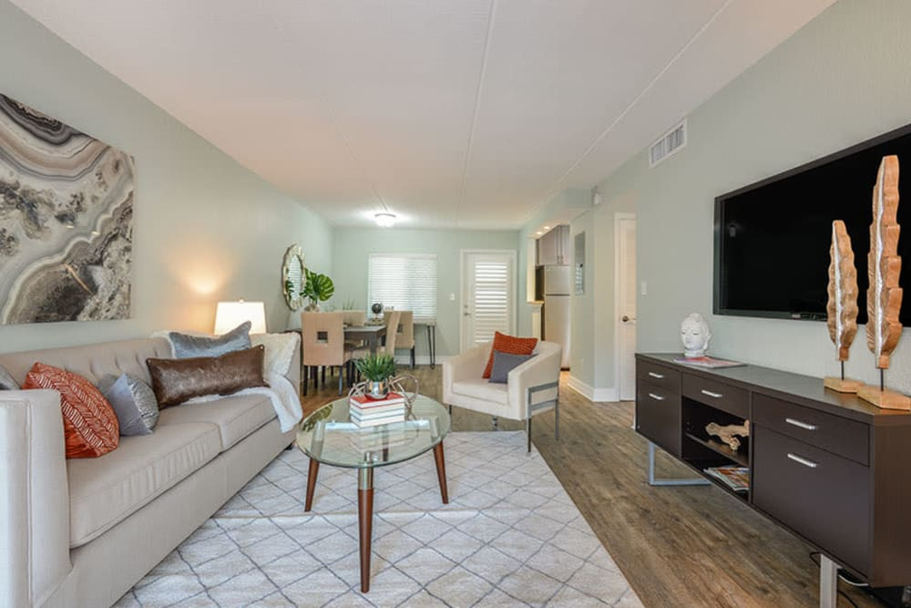 Furnished living room in model home at Sailpointe Apartment Homes in South Pasadena, Florida