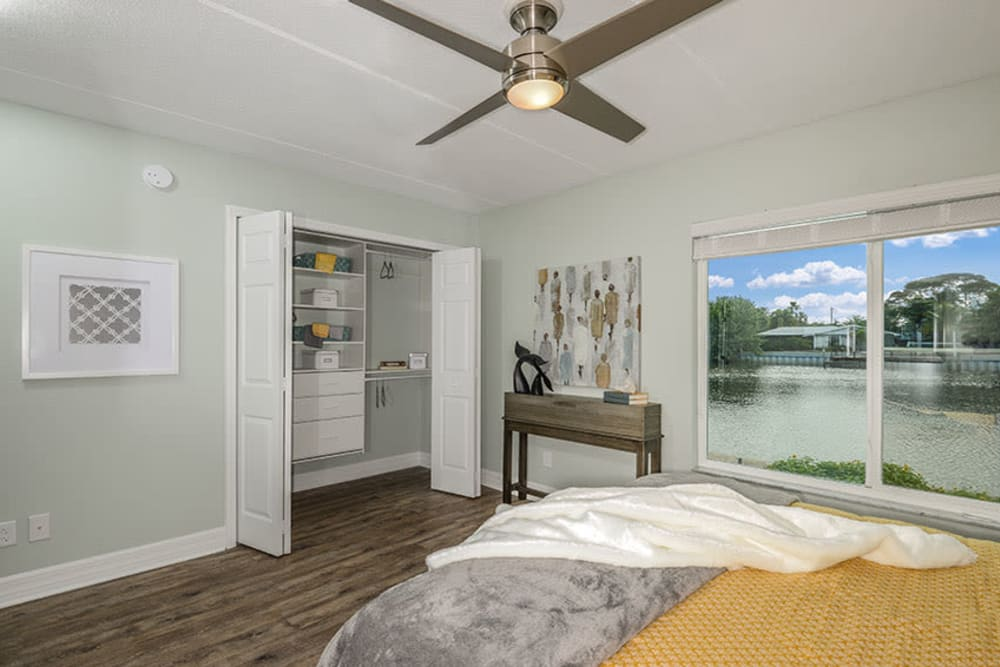 Ceiling fan in master bedroom at Sailpointe Apartment Homes in South Pasadena, Florida