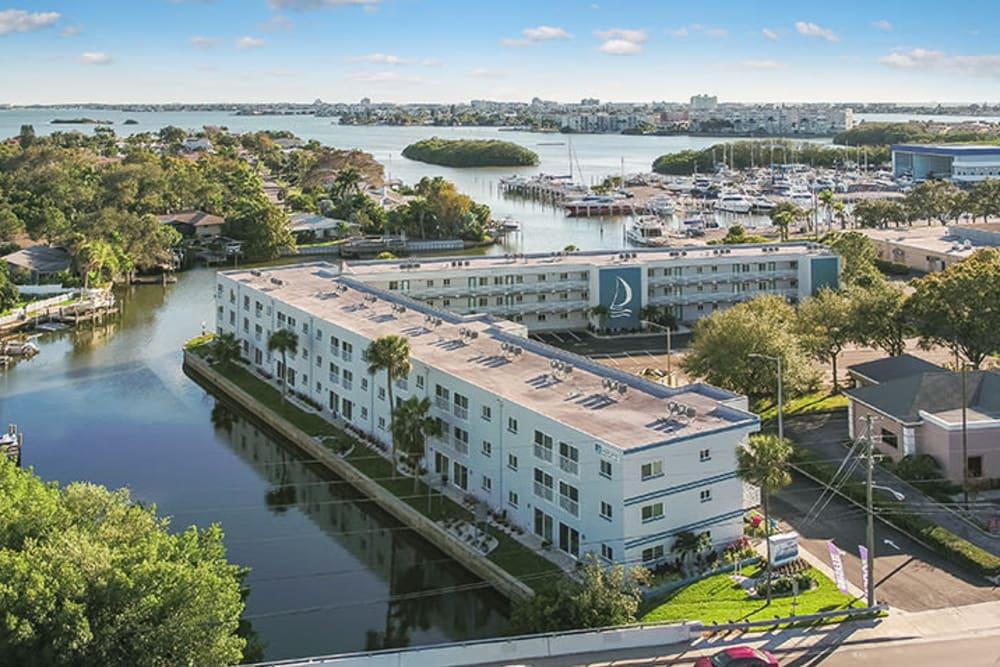 Water surrounding Sailpointe Apartment Homes in South Pasadena, Florida