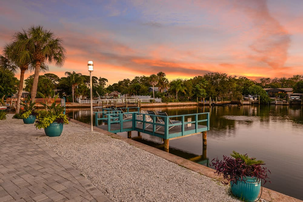 Dock over water at Sailpointe Apartment Homes in South Pasadena, Florida