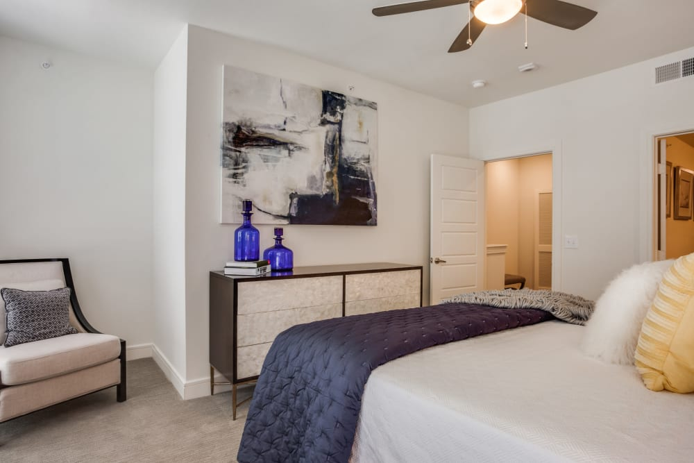 Spacious bedroom area at Atwood at Ellison in Dallas, Texas