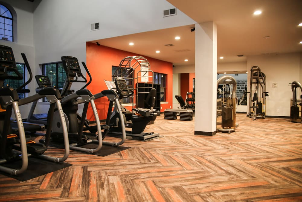 Get a workout in the recreation center at Slate Creek Apartments in Roseville, California