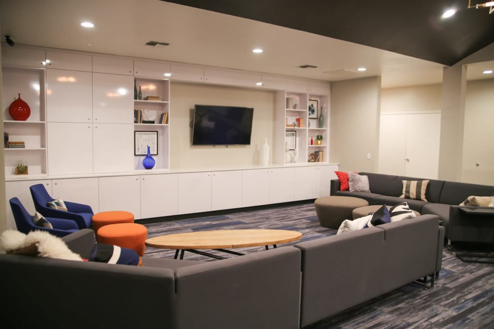 Resident clubhouse with modern decor at Slate Creek Apartments in Roseville, California