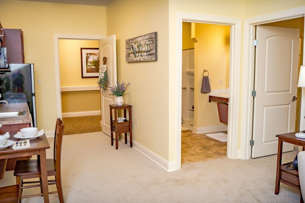 Senior apartment living area for Welbrook at Bloomington in Bloomington in Illinois