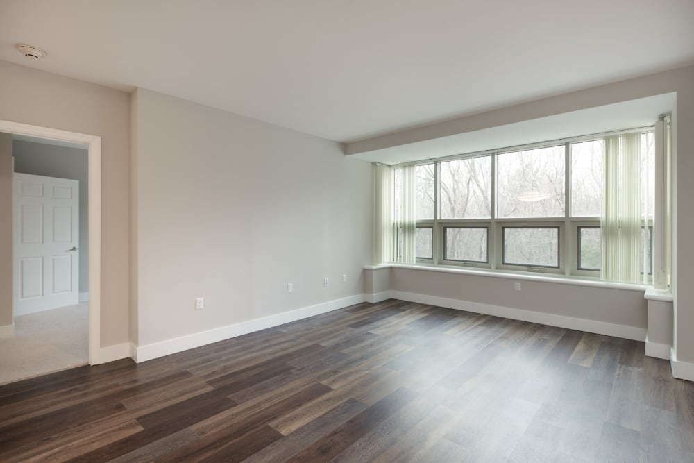 Spacious hardwood floors in our living room at Kimball Towers at Burlington in Burlington, Massachusetts