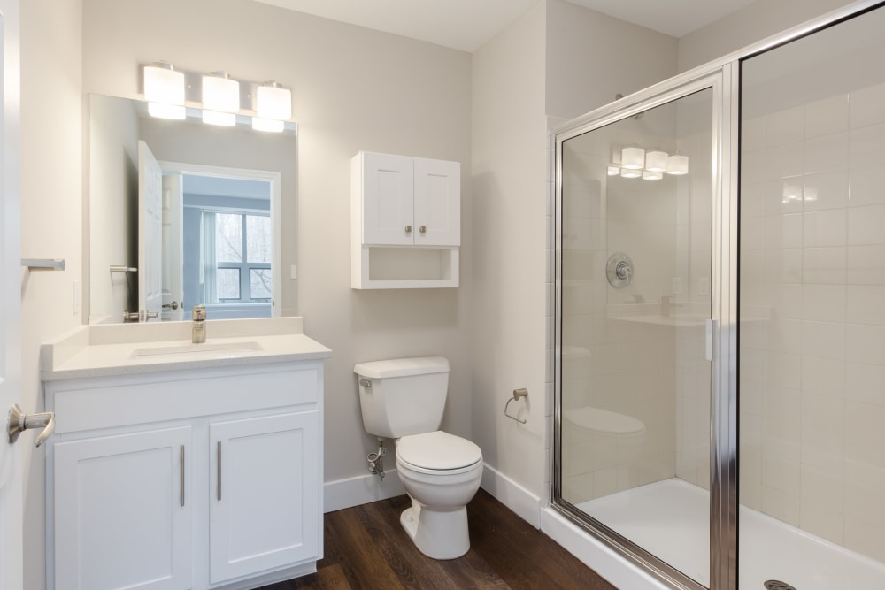 Cozy bathroom with shower at Kimball Towers at Burlington in Burlington, Massachusetts