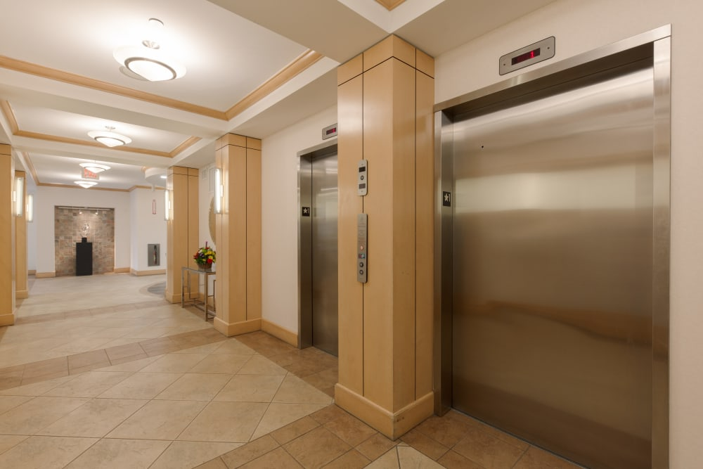 Take the elevator at Kimball Towers at Burlington in Burlington, Massachusetts