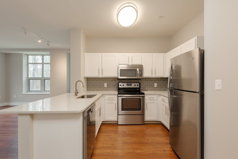 Plenty of room to cook in kitchen at Kimball Towers at Burlington in Burlington, Massachusetts