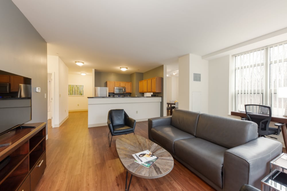 Showcasing a furnished living room at Kimball Towers at Burlington in Burlington, Massachusetts